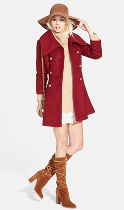 GUESS Double Breasted Boucle Coat