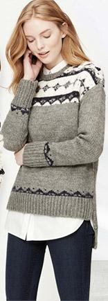 Loft Slouchy Fair Isle Sweater