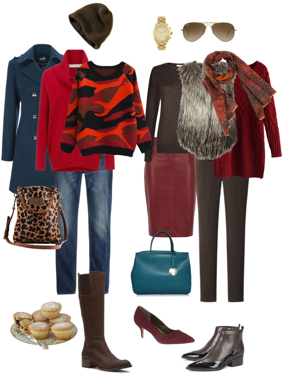 Ensemble: Red & Dark Brown