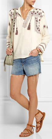 ETOILE ISABEL MARANT Vicky Embroidered Cotton Muslin Top