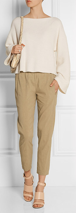 THEORY Korene Stretch Linen Blend Tapered Pants