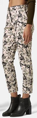 Topshop Floral Scuba Cigarette Trousers