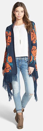 Woven Heart Rose Knit Fringe Open Shawl Sweater