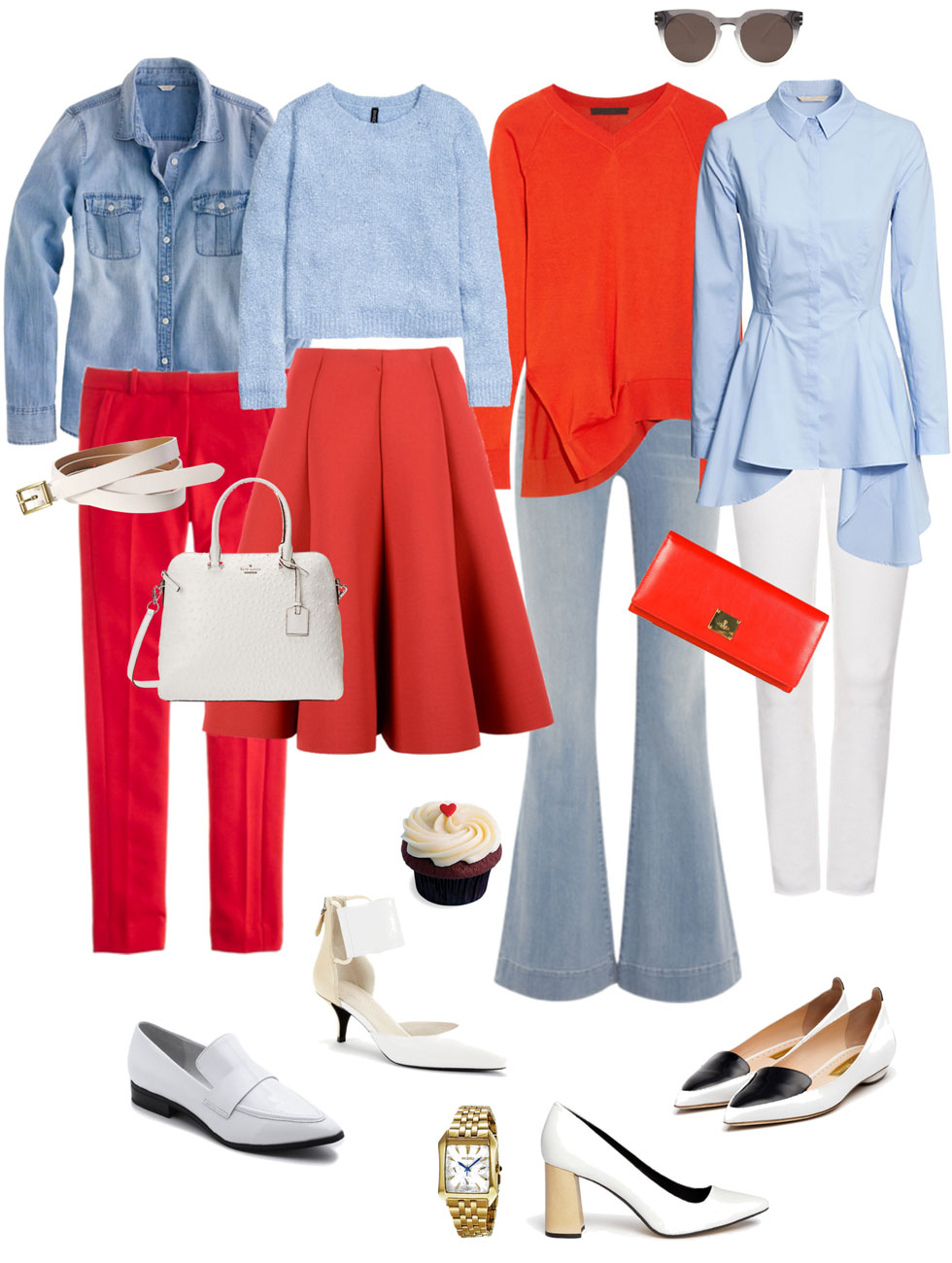 Ensemble: Tomato Red, Light Blue & White