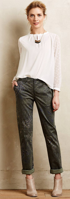 Anthropologie Pilcro Hyphen Paisley Chinos