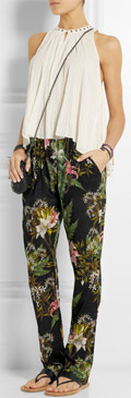 ETOILE ISABEL MARANT Wilford Floral Print Cotton Gauze Tapered Pants