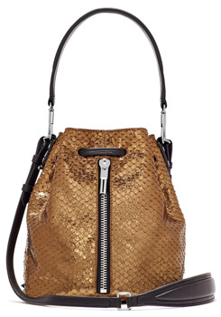 Elizabeth and James Mini Cynnie Snake Effect Leather Convertible Bucket Bag