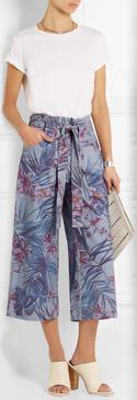SUNO Floral Print Denim Culottes