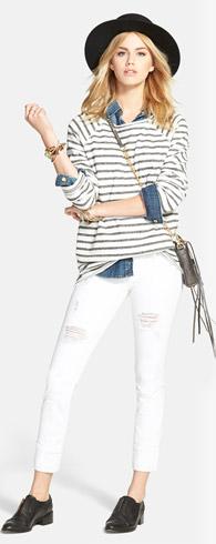 Stem Raglan Tee & Hudson Jeans Ginny Crop Skinny Jeans