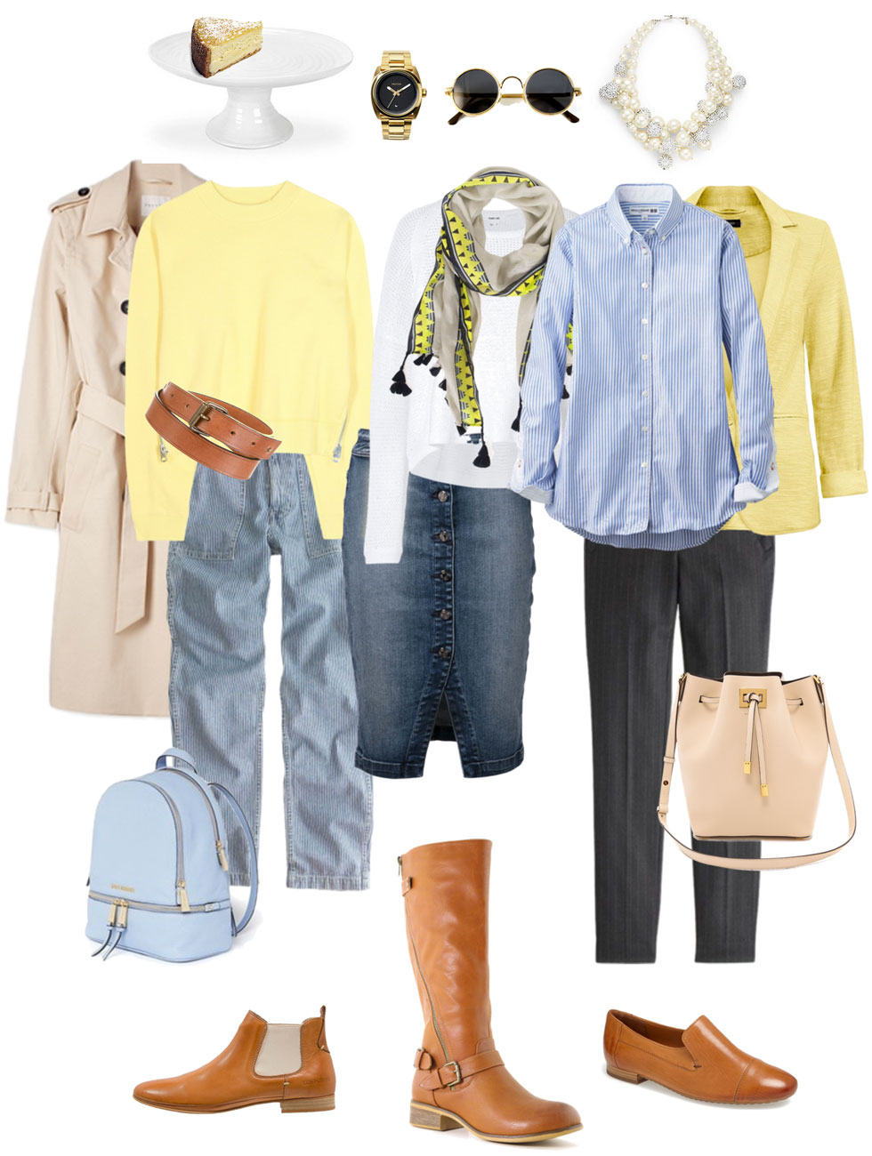 Ensemble: Lemon, Light Blue & Cognac