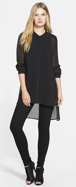 Eileen Fisher Mandarin Collar Long Silk Shirt