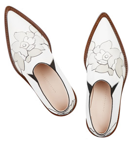 VICTORIA BECKHAM Floral appliqued Leather Point-toe Flats