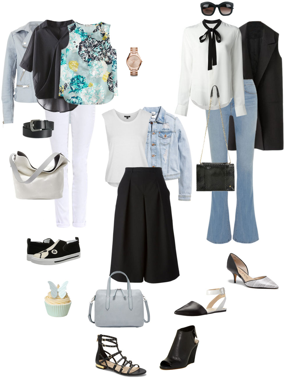 Ensemble: Black, White and Light Blue