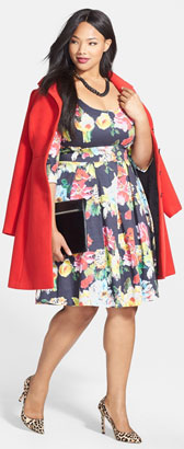 City Chic Coat & Floral Print Dress