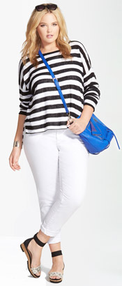 Eileen Fisher Stripe Boatneck Top & Boyfriend Jean