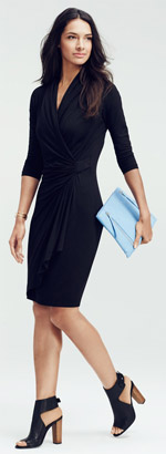 Karen Kane Faux Wrap Dress & Accessories