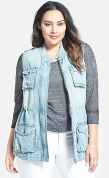 Lucky Brand Chambray Military Vest