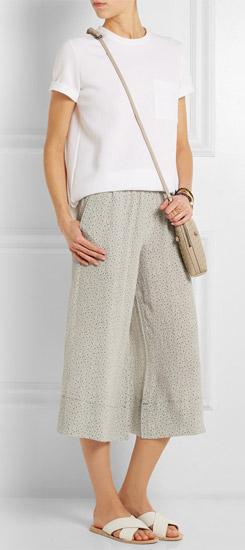 MIH JEANS Soleri Cropped Printed Silk-georgette Culottes