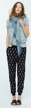 Madewell Denim Vest, Linen Tee & Ikat Track Pants