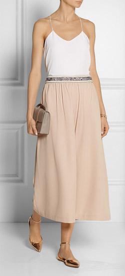 SALONI Lorna Embellished Crepe Culottes