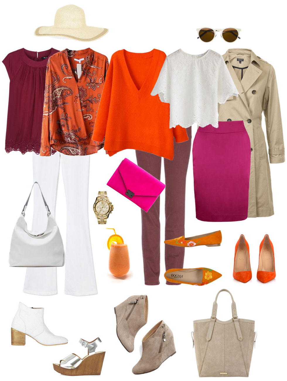 Ensemble: Burgundy, Orange & White