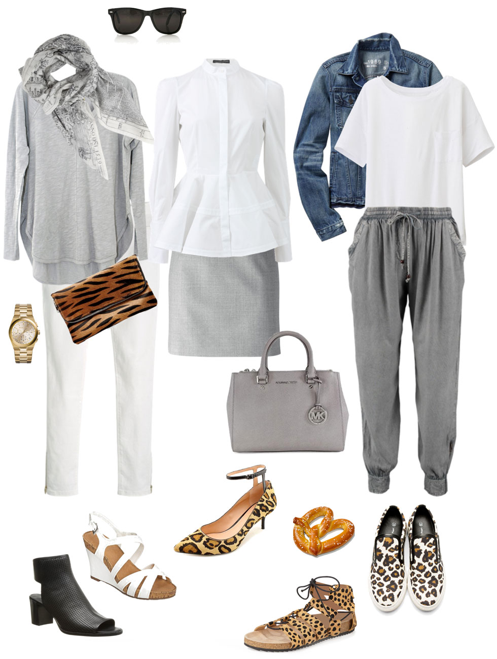 Ensemble: White, Grey and Animal Print