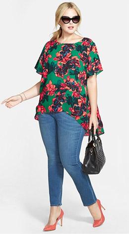 Vince Camuto Batik Floral High/Low Blouse