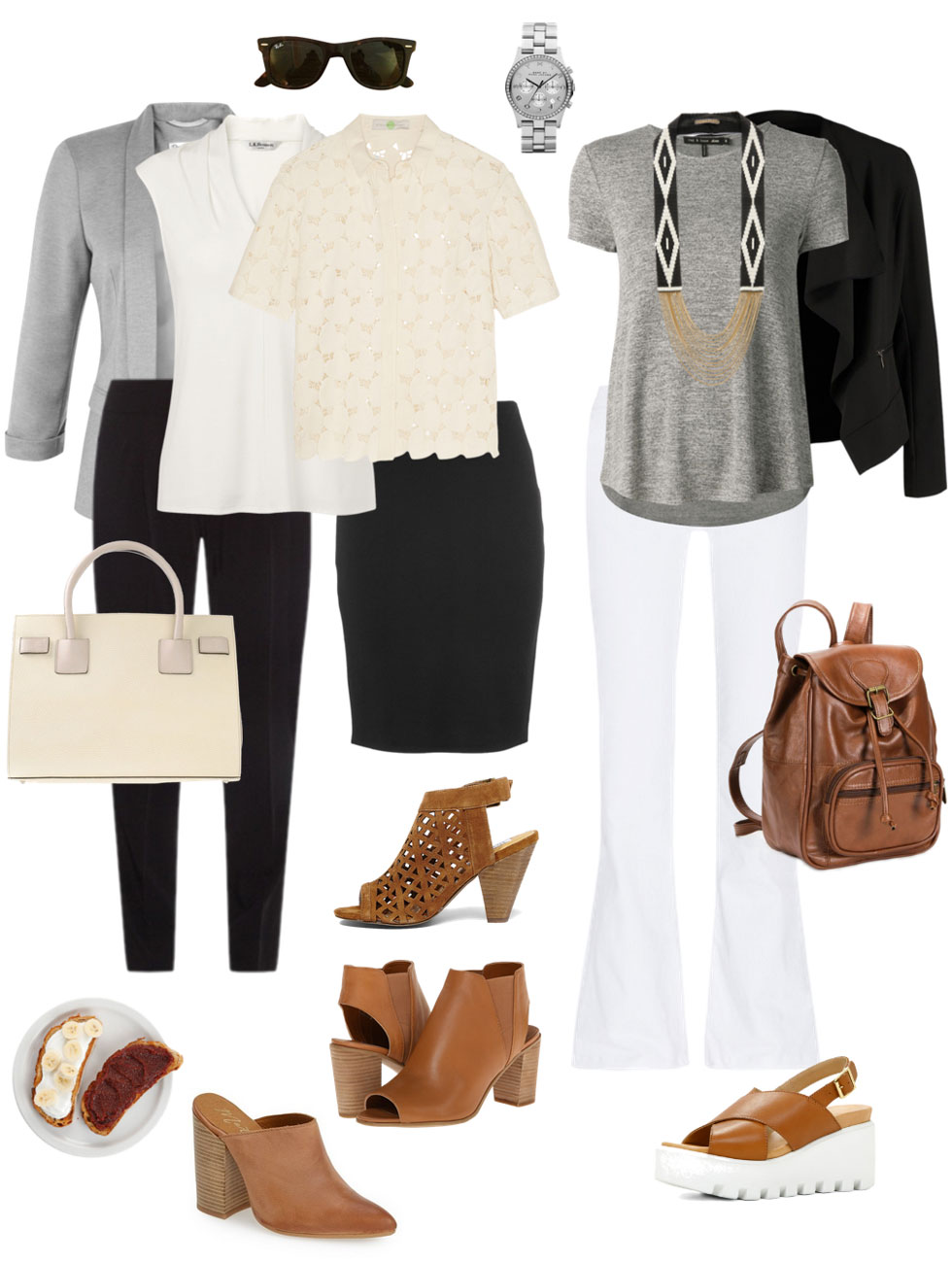 Ensemble: Cream, Black & Cognac