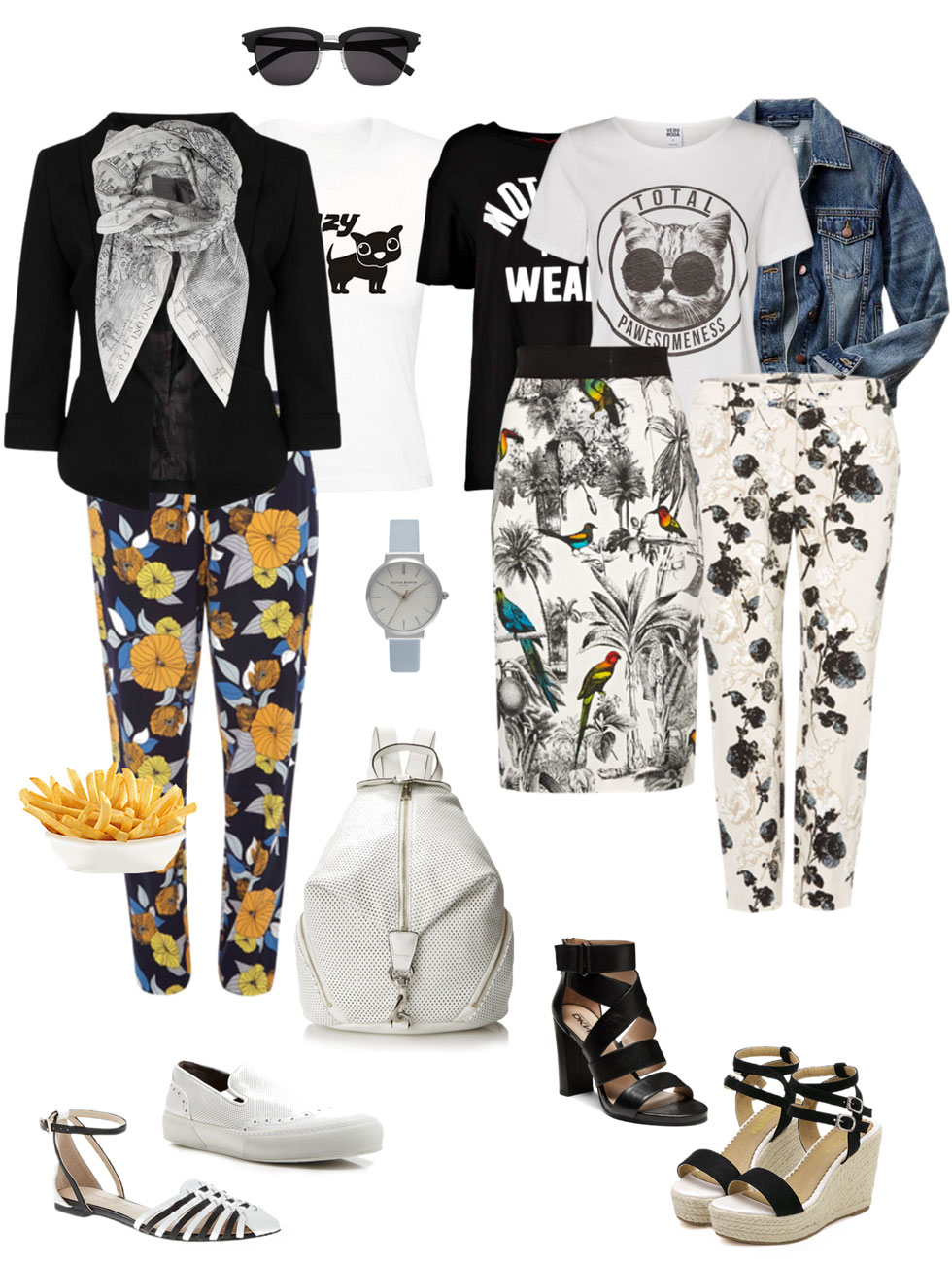 Ensemble: Printed Pants, Slogan Tee & Jacket
