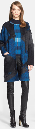 St. John Collection Fringe Trim Plaid Knit Topper