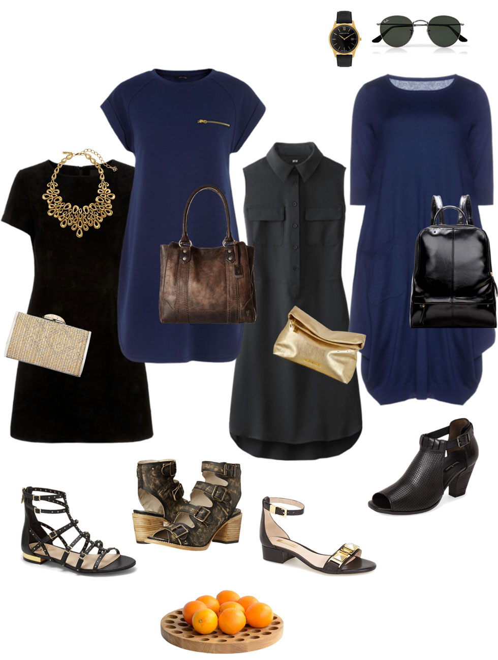 Ensemble: Casual Black Summer Dress