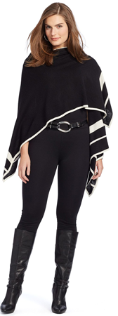 Lauren Ralph Lauren Striped Knit Poncho