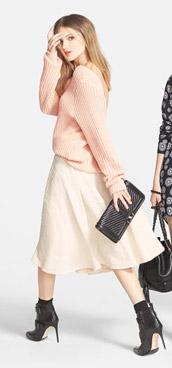 Leith V-Back Sweater & J.O.A. Midi Skirt