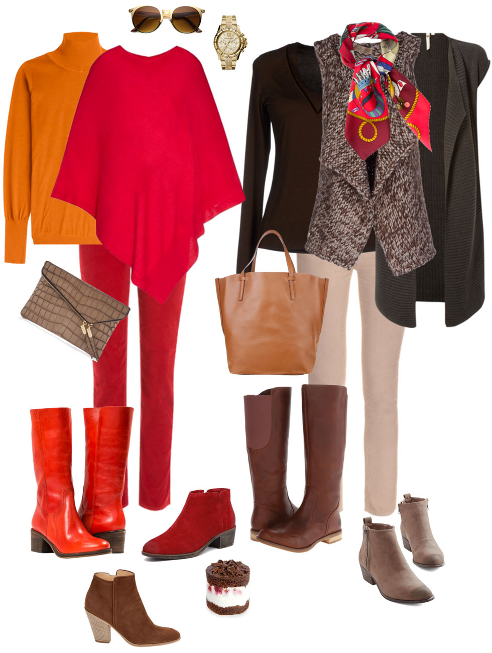 Ensemble: Cords, Boots & Poncho or Vest