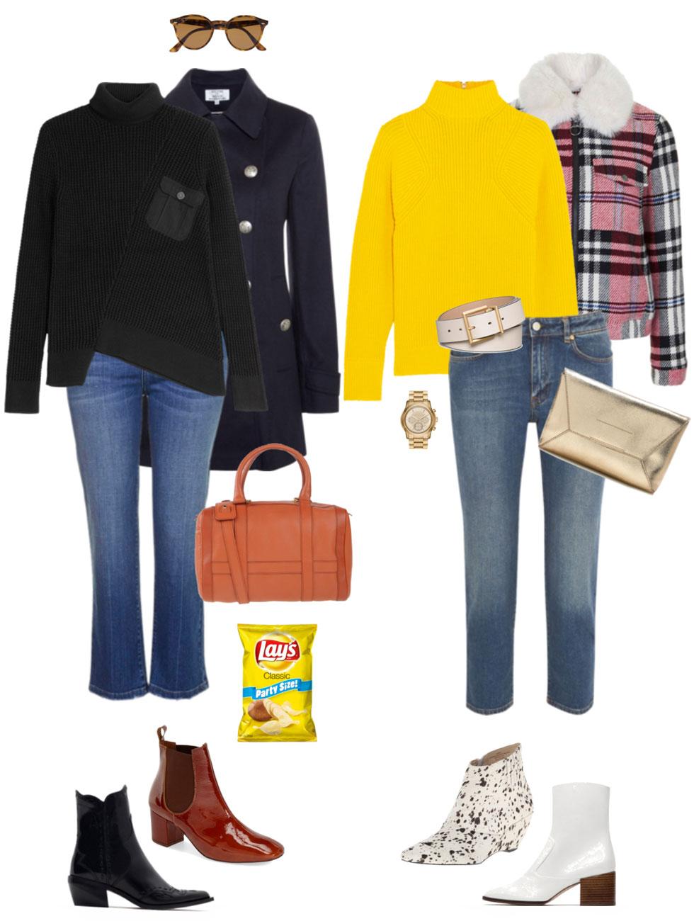 Ensemble: Cropped Jeans, Asymmetrical Top & Booties