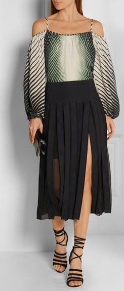 TAMARA MELLON Off-the-shoulder Printed Silk Blouse