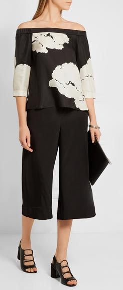TIBI Amara Off-the-shoulder Printed Silk-twill Top