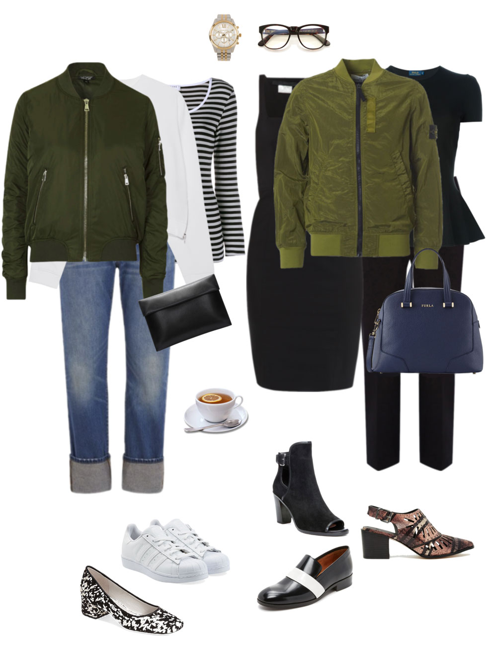 Ensemble: Olive Bomber Jacket Fabness