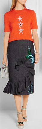 HOLLY FULTON Ruffled Embroidered Denim Midi Skirt