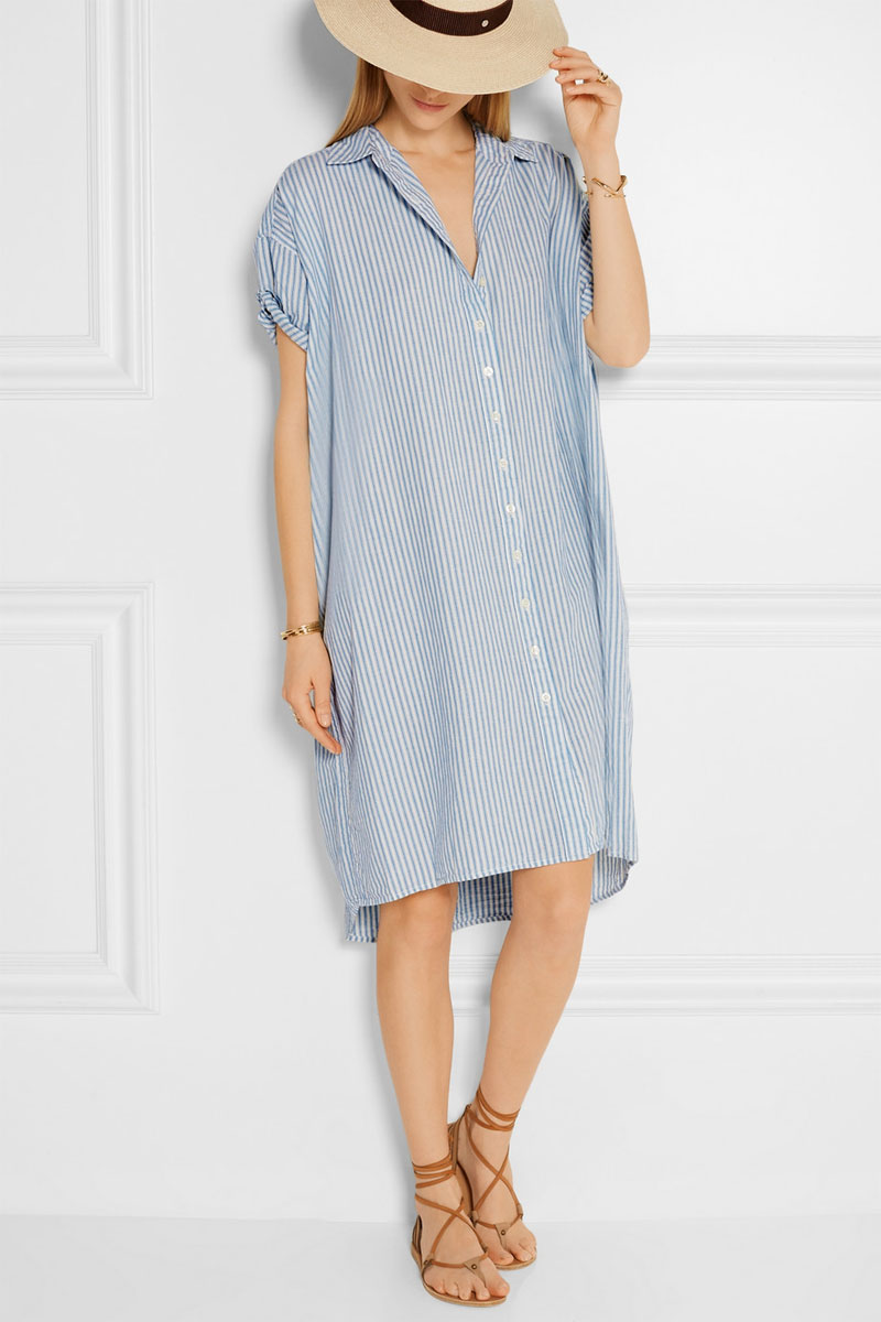 THE GREAT Striped Cotton and Linen-blend-Shirt Dress