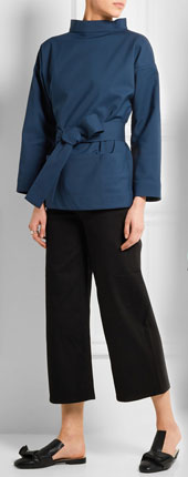 TITLE A Belted Stretch-cotton Jacket