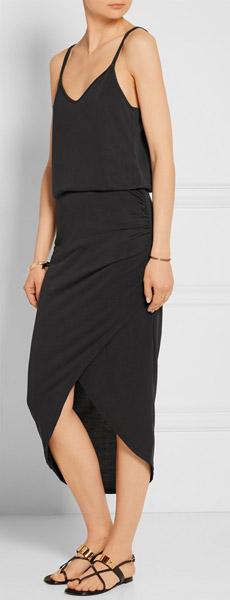 SPLENDID Wrap-effect Washed Modal-blend Jersey Skirt