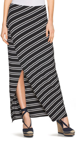 WHBM Stripe Wrap Maxi Skirt