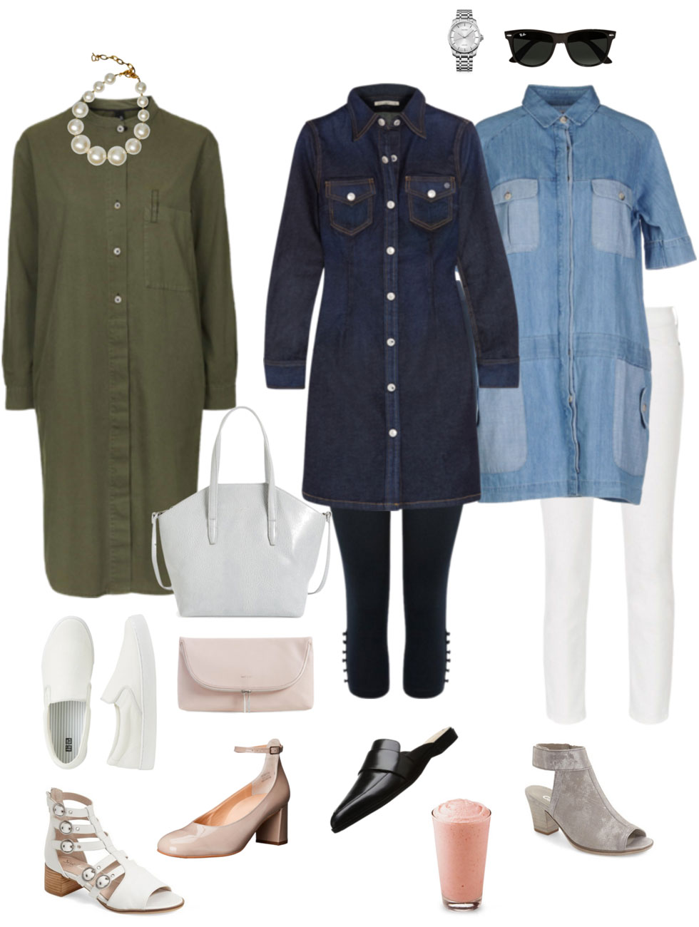 Ensemble: Unstructured Shirt Dress