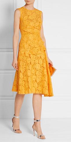 OSCAR DE LA RENTA Cotton-blend Corded Lace Dress