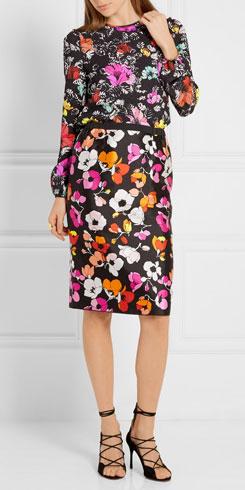 OSCAR DE LA RENTA Floral-print Silk-blend Cloque Top