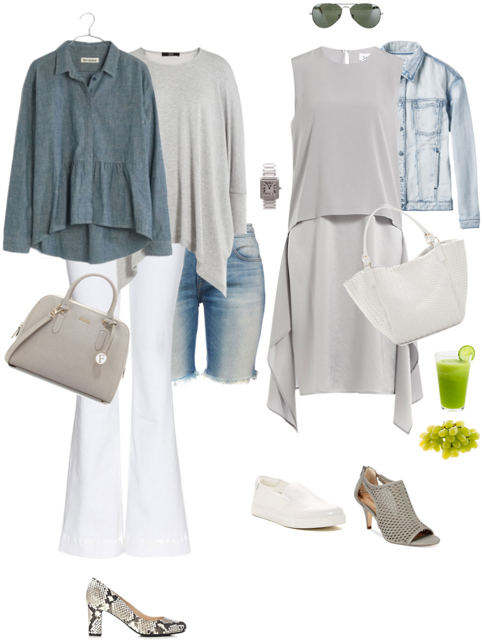 Ensemble: Light Blue, White & Pearl Grey