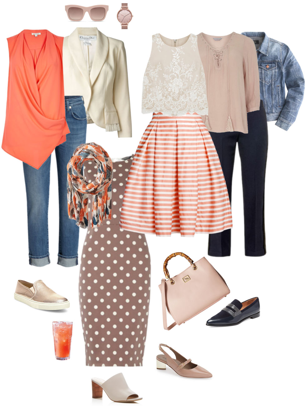 Ensemble: Coral, Blush, Cream, Taupe & Ink Blue