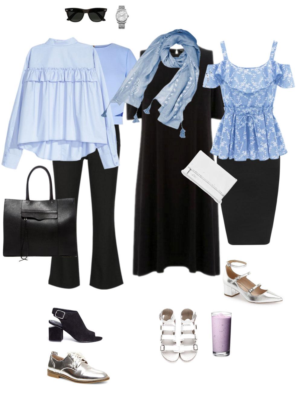 Ensemble: Summer Light Blue & Black