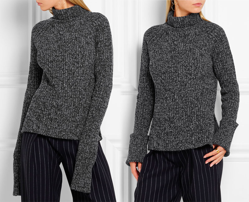 JOSEPH Melange Wool-blend Turtleneck Sweater